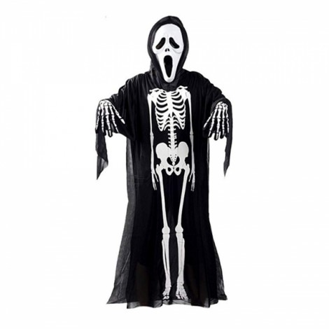 Halloween Scary Skull Skeleton Cosplay Costume Clothes Robe for Children Kids