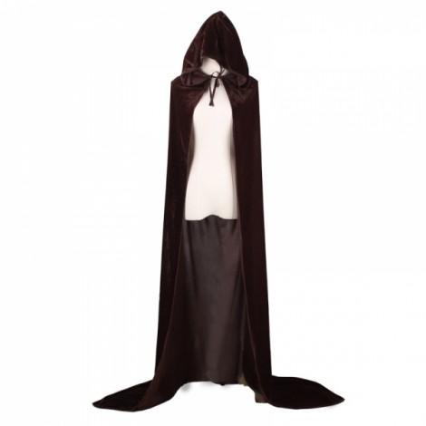 Hooded Velvet Cloak Full Length Long Cape for Christmas Halloween Cosplay Costumes - Coffee M