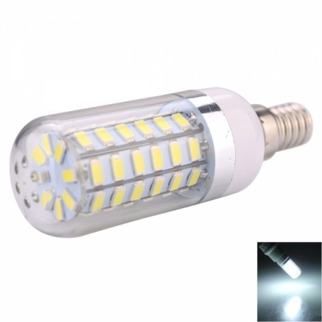 E14 10W 56 x 5730SMD LED 1000LM 6000-6500K White Light LED Corn Bulb with Silver-brimmed Lampshade (220-240V)