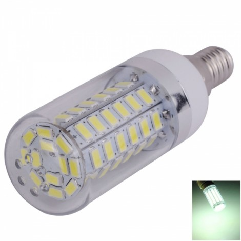 E14 12W 60 x 5730SMD LED 1200LM 6000-6500K White Light LED Corn Light Bulb (85-265V)
