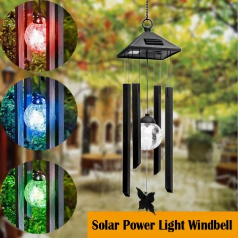 Solar Power Light Windbell Spinner Lamp Outdoor Hanging Light Colorful
