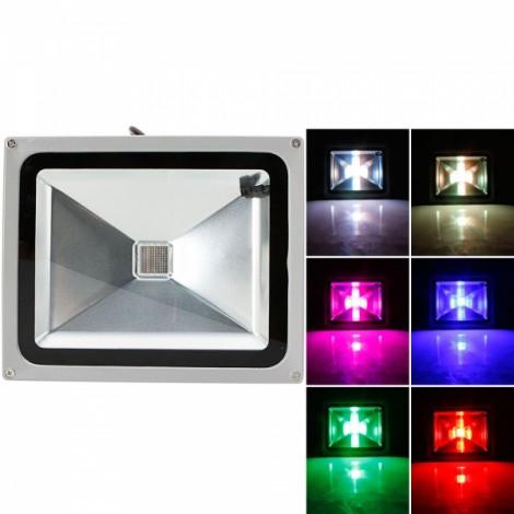 30W RGB Aluminium Alloy LED Flood Light with IP65 Waterproof & Remote Control Gray (AC 90-260V)