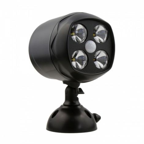 4-LED Small White Light Spotlight with Human Body Sensor & Light Control Black