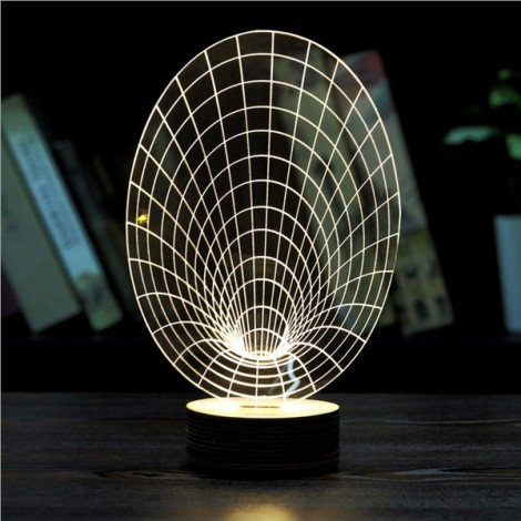 3D Visual LED Push Button Small Table Night Light Christmas Decoration Warm White Light Net Type Horn