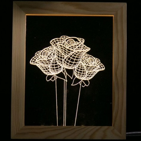 Rose LED 3D Photo Frame USB Night Light Table Lamp Wooden Creative