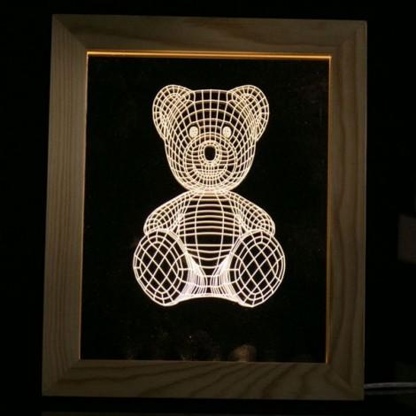 Little Bear Photo Frame Table Lamp LED 3D Wooden USB Night Light