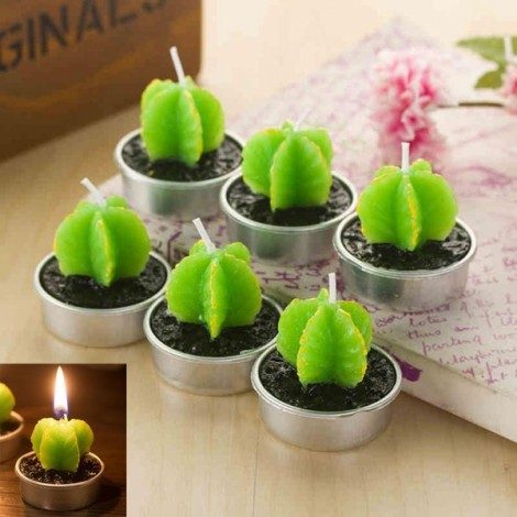 6pcs Rare Simulation Plant Candle Mini Smokeless Candle Home Garden Decor Leaf Cactus