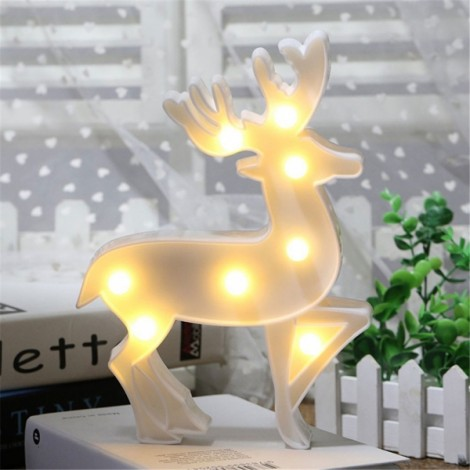 Elk Shape LED Night Light Bedroom Party Home Decor Battery Marquee Table Lamp White