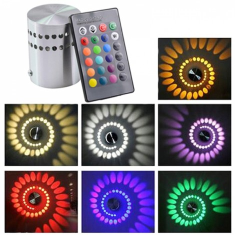 Modern 3W RGB Led Wall Light 85-265V 110V/220V KTV Karaoke Bar Decoration LED Wall Lamps for Living Room Restaurant Coffee Shop Colorful Light Silver