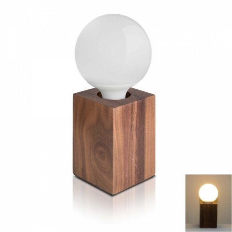 Modern Minimalist Solid Black Walnut Square Warm White Wood Table Lamp Bedside Lamp Desk Lamp with LED Bulb