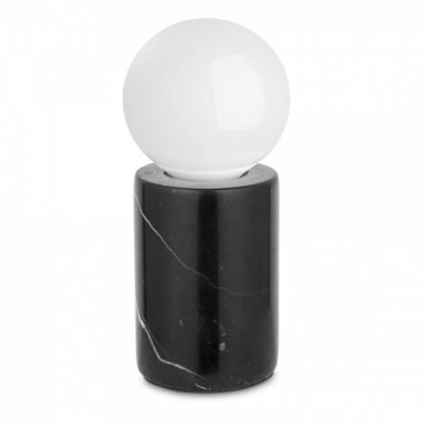 Modern Minimalist Solid Marble Round White Table Lamp Bedside Lamp Desk Lamp with LED Bulb Black