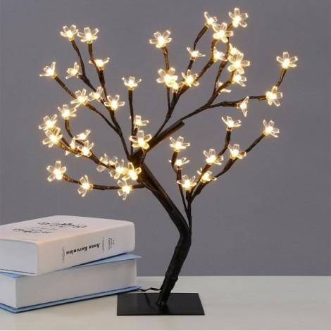48 LEDs Cherry Blossom Desk Top Bonsai Tree Light 0.45M Black Branches - USB Type