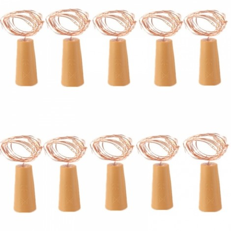 10pcs 2M 20 LED Cork Bottle Stopper Glass Wine bottle Copper Wire Light String White