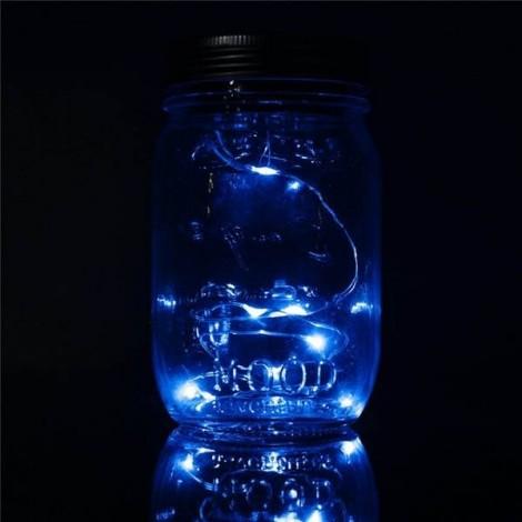 Solar Power Hanging Glass Jar Lamp 8-LED Beads Garden Courtyard Landscape Decor Light Blue