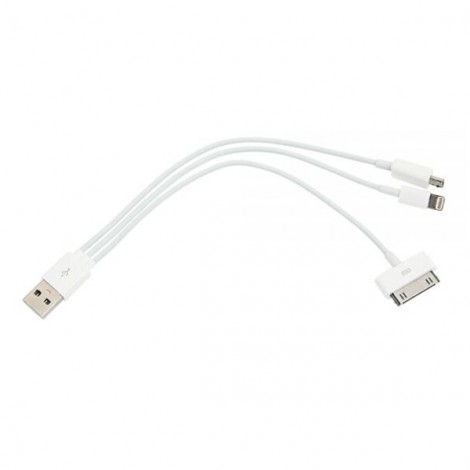 1-to-3 Micro USB/30-pin/8-pin Data Transmitting & Charing Cable for iPhone 7/6/5/4/4S/Samsung Other Phone White (20cm)