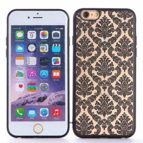 Matte PC Back Case Cover for iPhone 6/6S Black?Retro Engraved Pattern?
