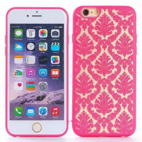 Matte PC Back Case Cover for iPhone 6/6S Red?Retro Engraved Pattern?
