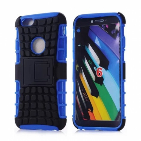 "Unique Tire Texture Silicone & PC Back Cover Holder for iPhone 6/6S 4.7"" Blue"