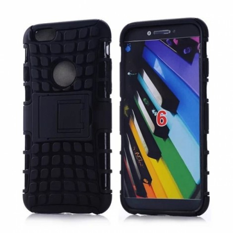 """Unique Tire Texture Silicone & PC Back Cover Holder for iPhone 6/6S 4.7"""" Black"""