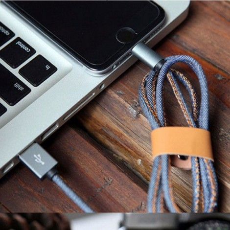 1M Pure Hand-sewn Denim 8pin Date Charging Cable for iPhone 5/6/7/8/Plus/X iPad iPod