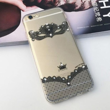 "Creative Sexy Black Lace Mask Pattern Design Rhinestone Soft TPU Protective Back Case Cover for 5.5"" Apple iPhone 6 Plus"