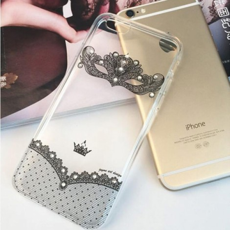 "Creative Sexy Black Lace Mask Pattern Design Rhinestone Soft TPU Protective Back Case Cover for 4.7"" Apple iPhone 6/6S"