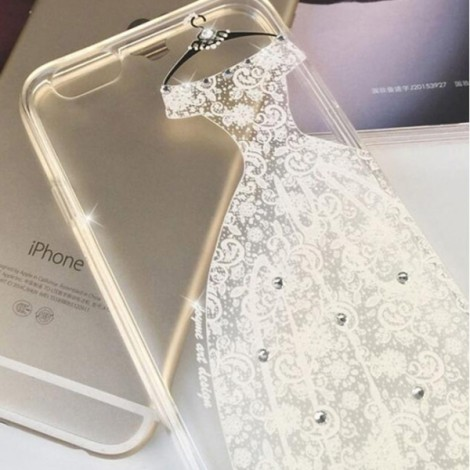 "Creative Sexy White Lace Dress Pattern Design Rhinestone Soft TPU Protective Back Case Cover for 5.5"" Apple iPhone 6 Plus"
