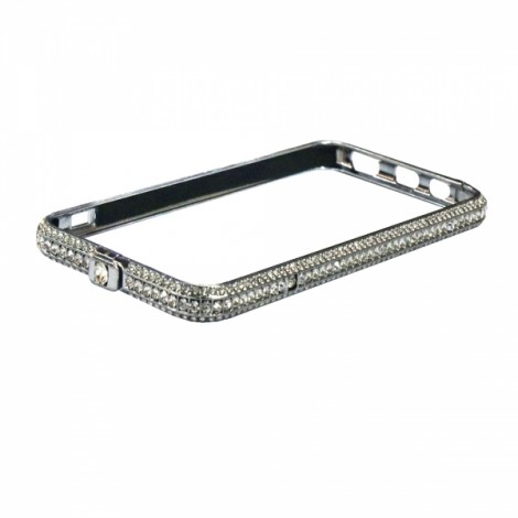 "5.5"" Luxury Crown Rhinestoned Zinc Alloy Protector Bumper Frame for iPhone 7 Silver"