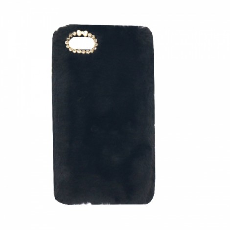 "Ultra Slim Rabbit Hair Rhinestone Back Case for 4.7"" iPhone 7 Black"