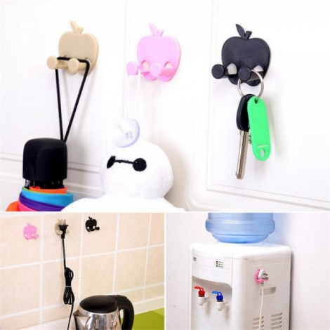 Apple Shape Power Cord Plug Holder Multifunctional Key Hanger Sticker Organizer Random Delivery