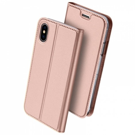 DUX DUCIS Magnetic Flip Card Slot Bracket PU Leather Case for iPhone X - Rose Gold