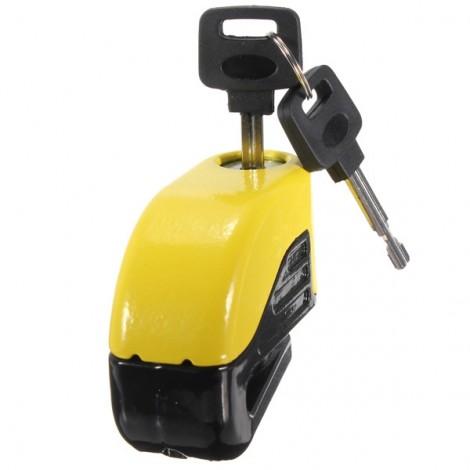 6mm Motorcycle Motorbike Disc Electron Security Lock Alarm Yellow