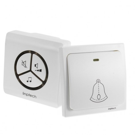 US PlugLinbell G1 Wireless Doorbell Self-generating Electricity Waterproof Automatic Generation Intelligent Pairing Doorbell White US Plug