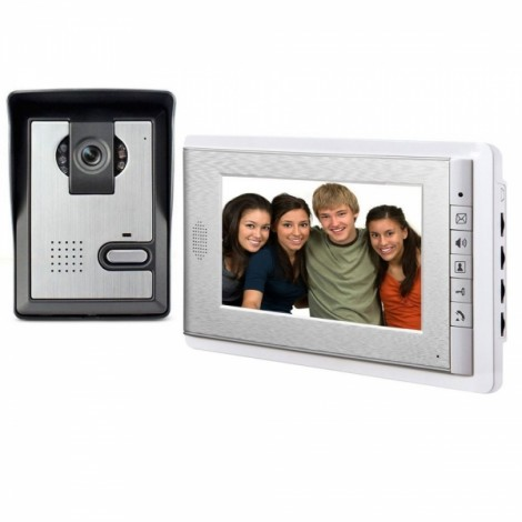 7 Inch LCD Monitor Wired Video Intercom Doorbell System White