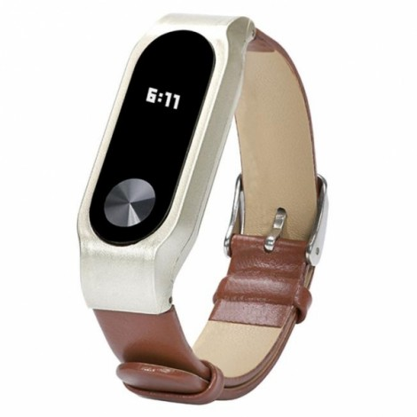 Replacement Leather Bracelet Wrist Strap Smartband for Xiaomi MiBand 2 Brown
