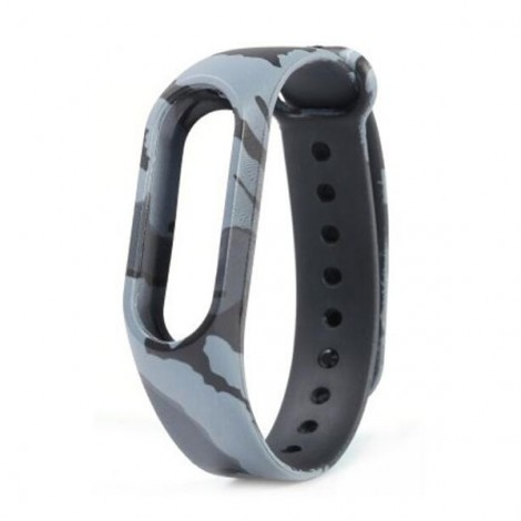 Camouflage Pattern Replacement Watch Strap for Xiaomi Mi Band 2 Camouflage Gray