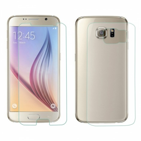 Protective Tempered Glass Screen + Back Protector Set for Samsung Galaxy S6 Transparent
