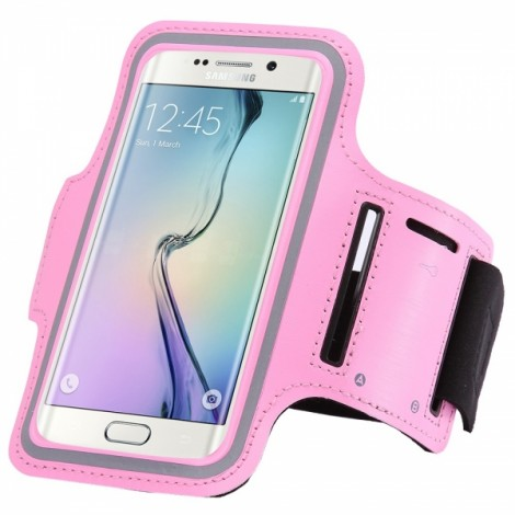Sports Running Armband Pouch Case Cover for Samsung Galaxy S7 Edge Pink