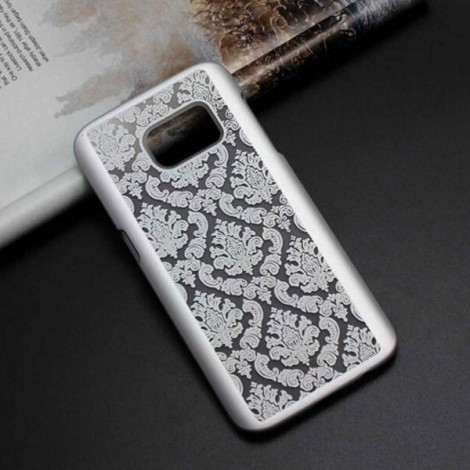 Retro Engraved Pattern Matte PC Back Case Cover for Samsung Galaxy S6 Edge Plus Silver