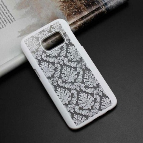Retro Engraved Pattern Matte PC Back Case Cover for Samsung Galaxy S6 Edge Plus White