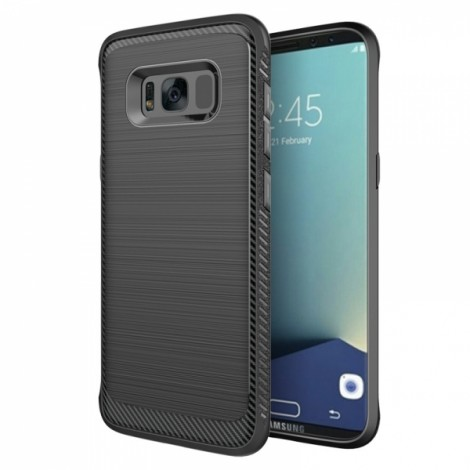 Brushed Finish Texture Dissipating Heat Fingerprint Resistant Soft TPU Case for Samsung Galaxy S8 5.8 Inch Black