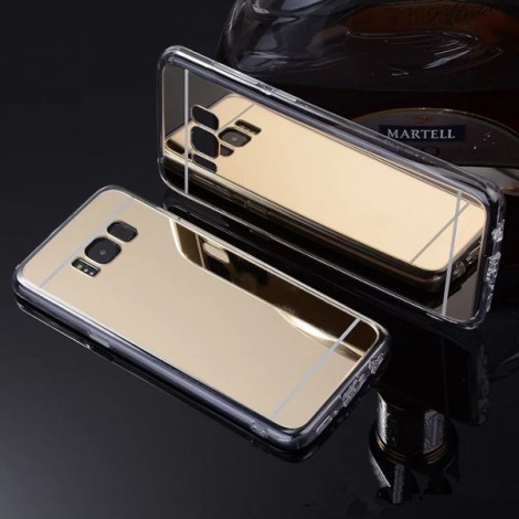 Plating Mirror Soft TPU Protective Back Case for Samsung Galaxy S8 Plus Champagne Golden