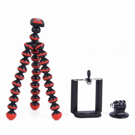 3-in-1 Mini Octopus Retractable Tripod + Adapter + Cellphone Clip Pack for Digital Camera/Phone/GoPro Hero 2/3/3 + Black & Red