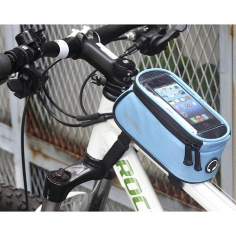 """ROSWHEEL Universal Bike Bicycle 4.8"""" Touch Screen Phone Bag with 3.5mm Earphone Hole Blue"""
