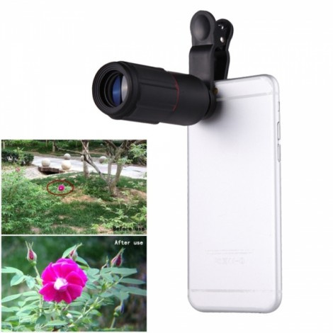 Universal 8X Zoom Phone Telephoto Camera Lens with Clip for iPhone Samsung HTC Photography Black