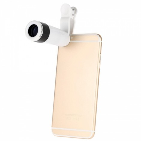 Universal 8X Zoom Phone Telephoto Camera Lens with Clip for iPhone Samsung HTC Photography White & Black