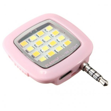 3.5mm Jack Smart Selfie 16-LED Mini Camera Flash Light for iOS Android Pink