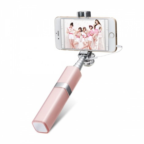 Fashionable Lipstick Design Self-portrait Monopod 3.5mm Mini Wired Extendable Selfie Stick for iPhone & Android phones Pink