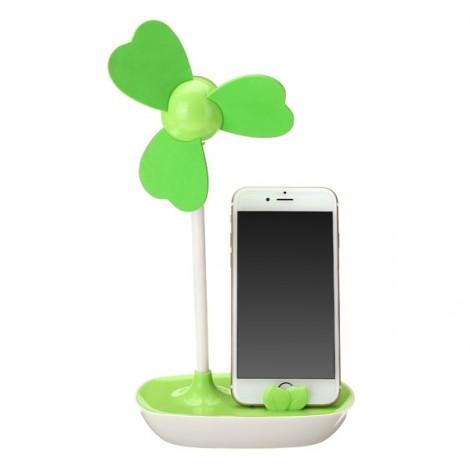 HAPTIME Multi-functional Four-leaf Clover Design Smart Phone Holder EVA Mini Fan Green