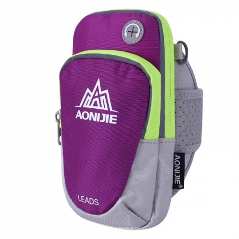 """AONIJIE Outdoor Waterproof Sports Gym Running Armband Bag Phone Case for Cellphone Under 5.5"""" Purple"""